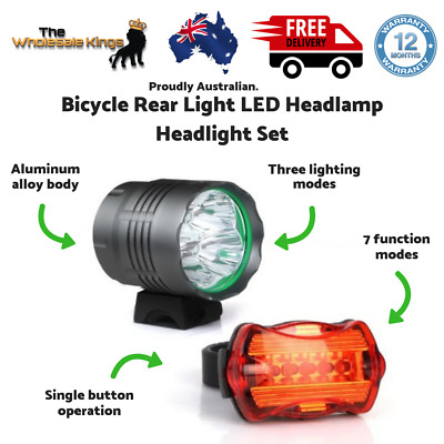 WEISSHORN 50000LM Bicycle Rear Light LED Headlamp and Headlight Set - Black