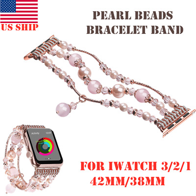 US! For Apple Watch Bling Pearl Beads Strap Bracelet Band iWatch 3/2/1-42mm/38mm