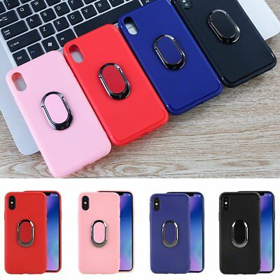 Soft Anti-scratch Case Slim Protective Cover with Ring Stand Holder for iPhone X