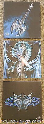 Anne Stokes Powerchord Dragon Set 3 Wall Canvas Gothic  Fantasy Collectable
