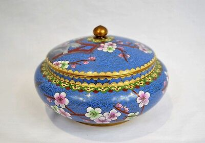 Large Vintage Chinese Blue Cloisonné Lidded Pot Bowl Storage Jar Box