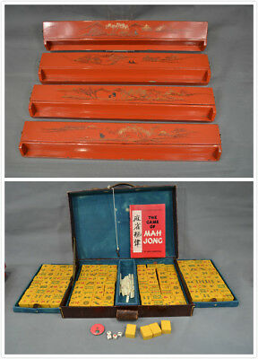 Antique Chinese Foochow Lacquer by HSIN MAU AN Made in China Mah Jong Set
