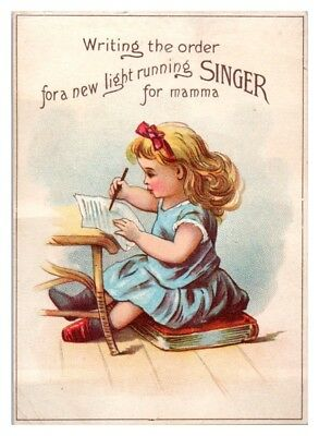 Young Girl Writing Order for New Singer Sewing Machine, Victorian Trade Card