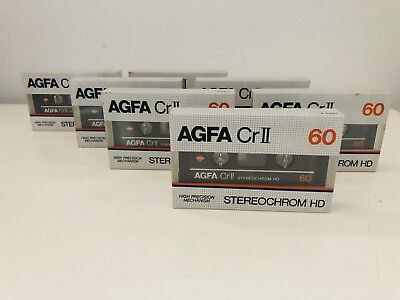 Agfa Cr II 60 Tapes Blank New Vintage 1982 x7 Units