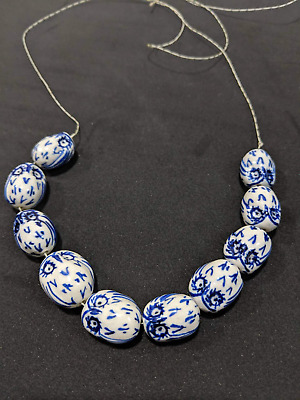 10pcs Porcelain Ceramic Loose Beads Jewelry Blue White Head of the owl Pattern