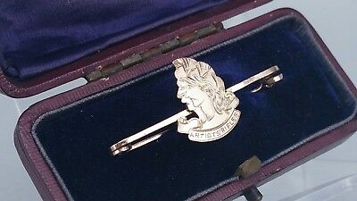 Re Scarce 9ct Gold WWI Artists Rifles Sweetheart Brooch, SAS(R) Regiment, boxed