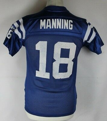 Manning #18 Indianapolis Colts American Football Jersey Nfl Reebok Youths Medium