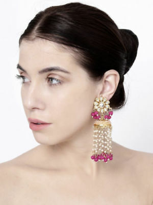 Indian Bollywood Pink Pearl Long Jhumki Jhumka Earrings Online Fashion Jewelry