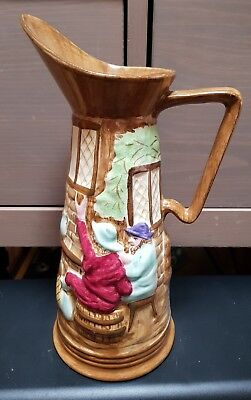 Vintage H J Wood Ltd Glazed Pottery Pub Scene Jug hand painted Burslem England