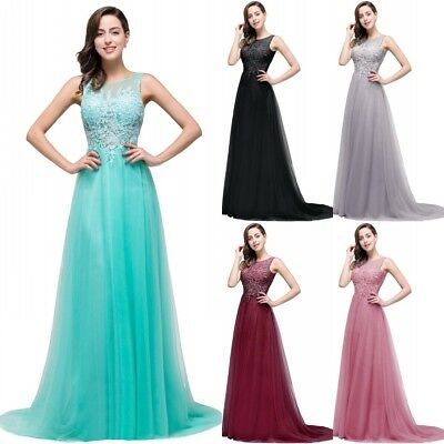 Tulle Long Evening Prom Dress Formal Party Ball Gown Bridesmaid Applique New
