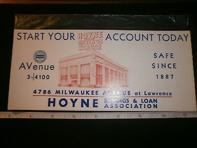 Vintage Hoyne Saving & Loan Association Cardboard Advertising Cards.lot Of 3.chi