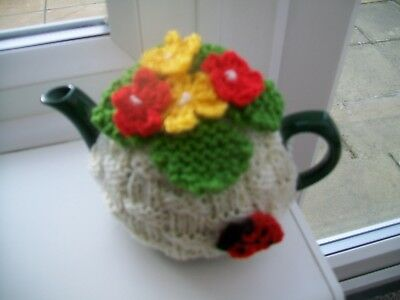 Hand Knitted Basket Weave Tea Cosy Flowers Ladybird For A Small Teapot 1-2 Cup