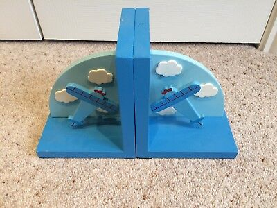 Wooden Airplane Bookends