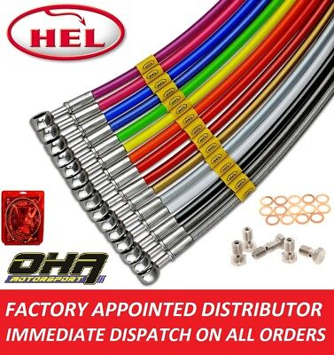 HEL S/S Braided MX Front & Rear Brake Lines for Kawasaki KX250F KXF250 2004 2005