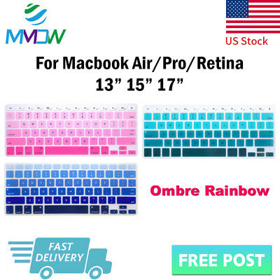 Rainbow Design Silicone Keyboard Cover Skin For Macbook Pro Air Retina 13 15 17