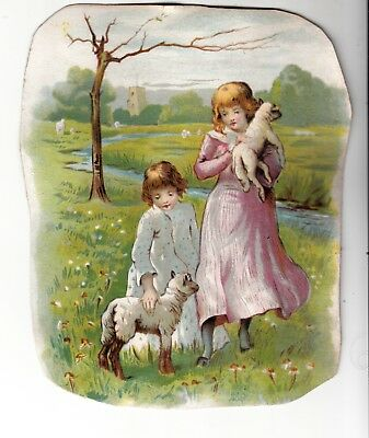 Sisters with Lambs in Field Stream No Advertising Vict c1880s