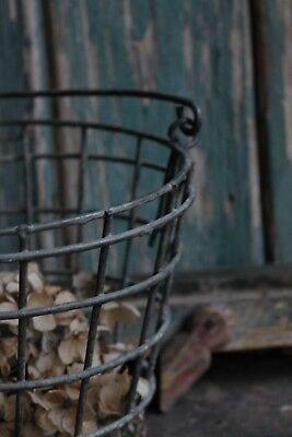 French Wire Egg Basket Grey Steel Kitchen Shabby Country Style ORIGINAL