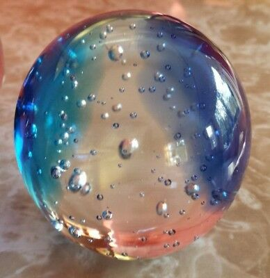 Blue & Clear Glass Bubble Paperweight