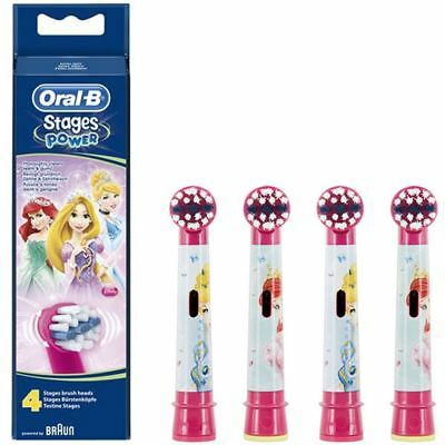 4 Oral-B Disney Princess Stages Power Kids Replacement Electric Toothbrush Heads