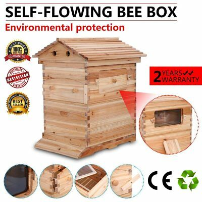 7PCS Auto Bee Honey Hive Frames FOR Beehive Beekeeping Brood Wooden House Box