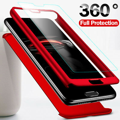 For Huawei Honor 8X Play 8 9 10 Lite Play 360° Full Cover Case + Tempered Glass