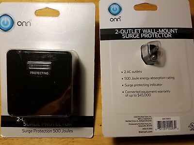 New 2 Packs ONN 2 AC Outlet Wall Mount 500 Joule Surge Protector