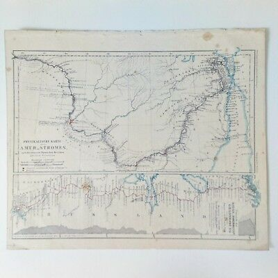 Petermann's Geographical Communications 1857 Physical Map of Amur Stream, Russia