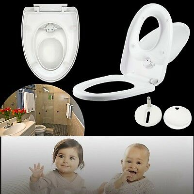 Toilet Seat Soft Close Family Child Friendly 3 in 1 TOP Hinges White UT