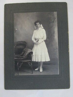 Cabinet Card Photo Photograph Standing with Books Woman in Dress
