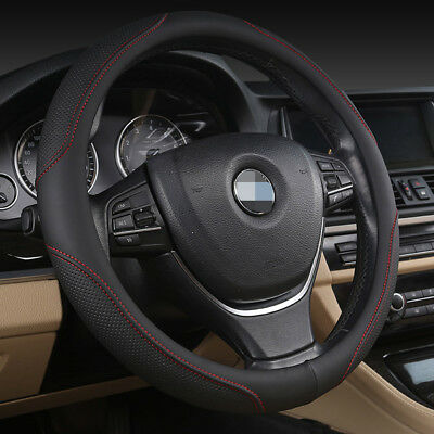 PU Leather Car Steering Wheel Cover Anti-slip Protector Fit 38cm Black Red Hot