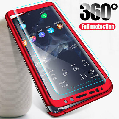 For Samsung Galaxy A7/A750 A8 A6 Plus 2018 360° Full Cover Case + Tempered Glass