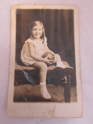 Antique Cabinet Photo Photograph Girl sitting with a Ball
