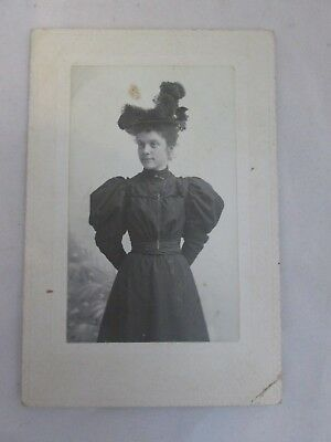 Antique Cabinet Photo Photograph Woman in a Dark Dress & Big Hat