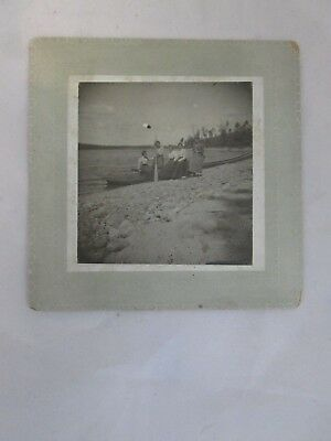 Antique Cabinet Photo Group of Woman in a Boat on Shore