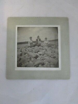 Antique Cabinet Photo Group of Woman on a Shore & On Some Rocks