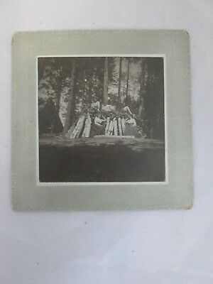 Antique Cabinet Photo Group of Woman on Some Logs at a Campsite