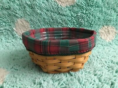 """Longaberger Generations Basket 7"""" 2000 Liner Protector Red Green Plaid Holiday"""