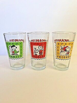 Lot Of 3 Peanuts Glasses • Christmas Set • Lucy Charlie Snoopy Woodstock 2012