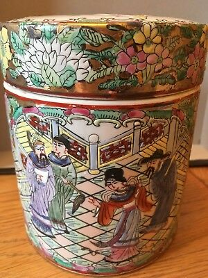 Hand Painted Antique / Vintage Chinese Lidded Jar Tea Caddy