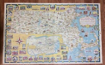 vintage pictorial map Ernest Dudley Chase Massachusetts