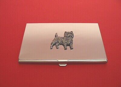 Cairn Terrier Pewter Motif Chrome Plated Card Holder Father Cairn Terrier Gift