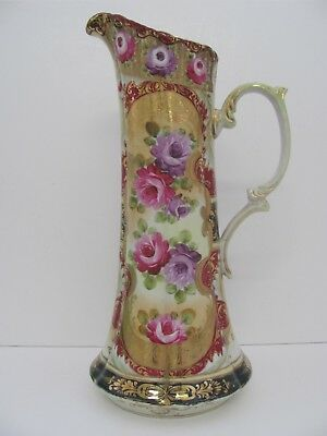 "Beautiful Antique Nippon Tankard Pitcher 16"" Hand Painted Roses Beaded Gold"