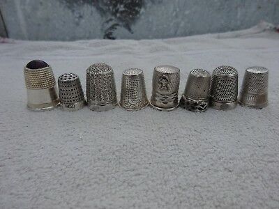 Vintage Lot of 8 sterling silver Thimbles thimble nice lot