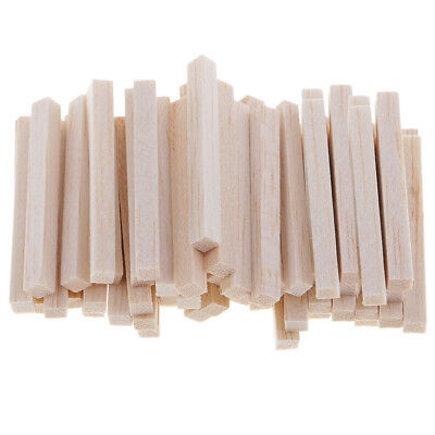 60 Pieces Unfinished Square Wooden Stick Balsa Wood Shapes for Model Making