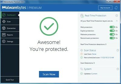 Malwarebytes Anti Malware 2019| 1PC| NO CD/DVD| DIGITAL LIFETIME KEY| VER 3.6.1