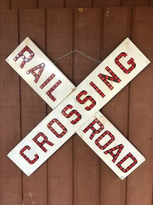 Vintage Porcelain RAILROAD CROSSING Sign with Red Cat Look Type Reflectors
