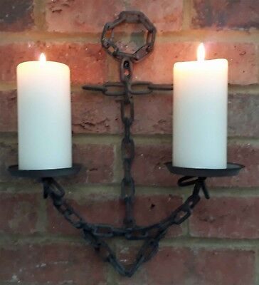 Anchor Wall Sconce Cast Iron Chain Church Pillar Candle Holder Nautical 40cm New