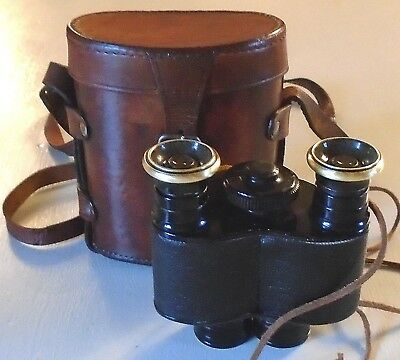 ANTIQUE WWI AITCHISON BINOCULARS 8x MONO WITH LEATHER CASE c.1915