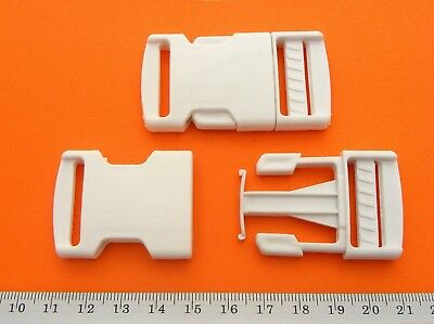 White Buckle Plastic Clip For Craft Webbing Paracord Bag Strap 25mm Side Release