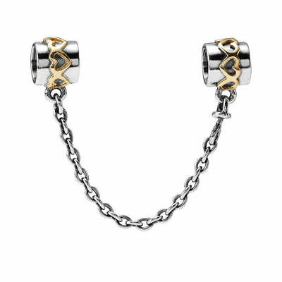 New Authentic Genuine Pandora Silver & Gold two tone Hearts Safety Chain 790307